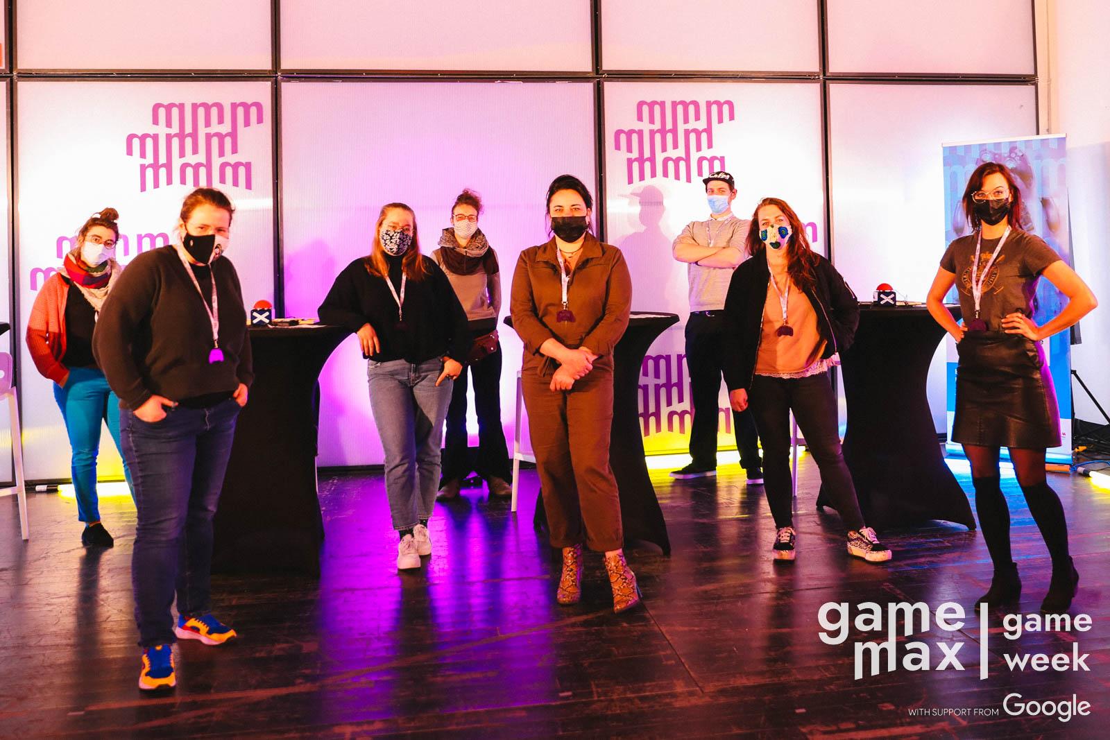 L'équipe de la GameWeek 2021 de G. à D. : Pauline Moulin, Amélie Kestermans, Louise Duquesne, Cathel Van Renterghem, Savine Moucheron, Colin Rapaille, Cerise Laby, Julie Brughmans.